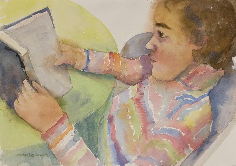 Girl, Reading, Watercolor