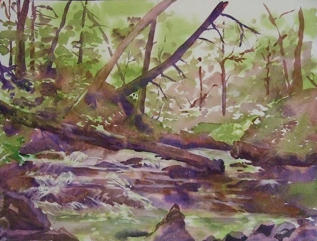 Yokun Brook Cascades, Watercolor